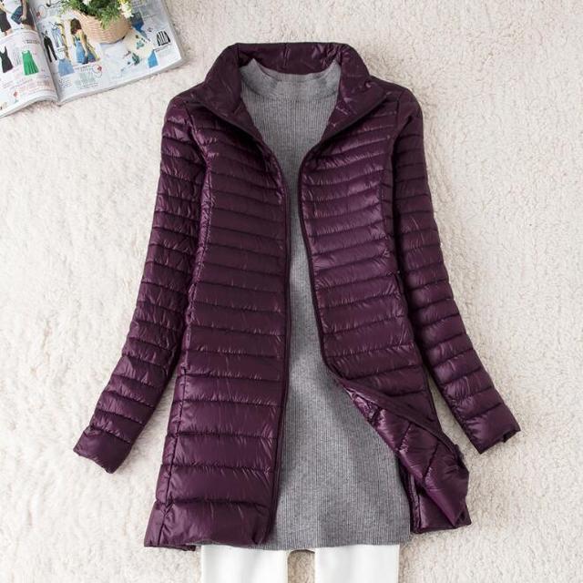 SEDUTMO Winter Long Women Down Jackets Ultra Light Duck Down Coat Thin Slim Black Puffer Jacket ED341 6