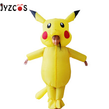 Kids Adult Pikachu Costume Pokemon Cosplay Inflatable Halloween Costumes Outfit Men Women Blowup Mascots Fancy Dress Suit