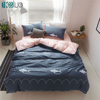 KELUO Luxury Bedding Set Duvet Cover Bedclothes Print Bedding Sets Shark American Style 3 4PCS