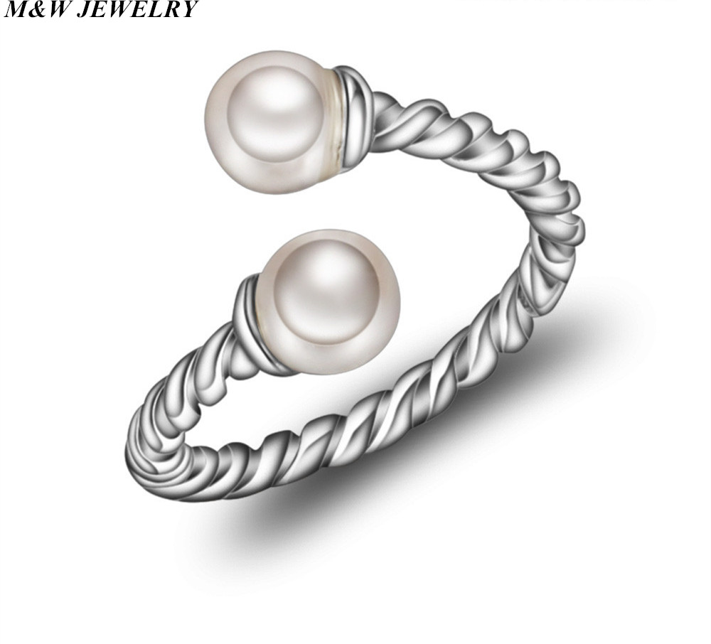 M&W JEWELRY 2017 Hot Thai Silver Open Ring Vintage Jewelry for Women Open Pearl Ring Jewelry