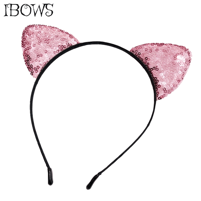 Lovely Cat Ear Hairband Solid Sequin Headband Rainbow Hair Accessories For Women Girls Sexy Party Hair Hoop