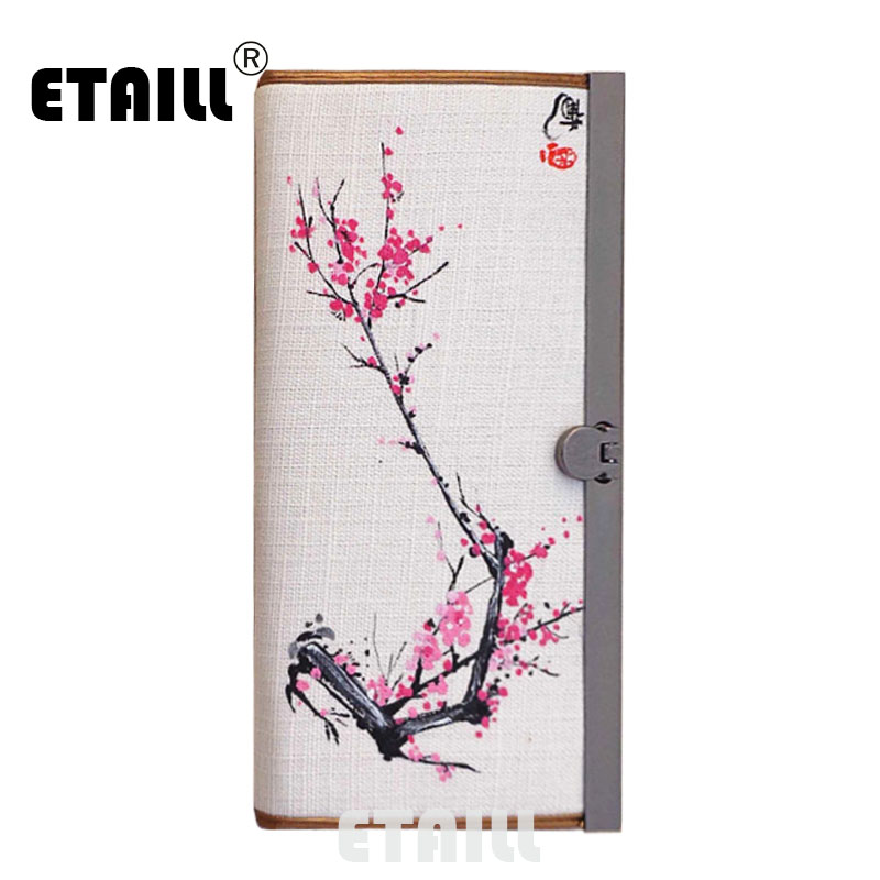 ETAILL Fashion Women Wallets Hasp Metal Hand-painted Flower Zipper Wallet Women's Long Design Purse Two Fold More Color Clutch 2087 women new fashion long hasp wallet cute purse for juniors flower pattern design magnetic snap closure credit store