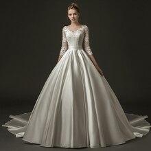 Новое поступление бальное платье сатиновое кружевное скромное свадебное платье с рукавом 3/4 с v образным вырезом корсет Bacl винтажное викторианское свадебное платье