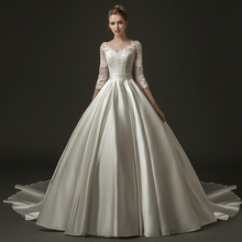New Arrival Ball Gown Satin Lace Modest Wedding Dresses With 3/4 Sleeves v Neck Corset Bacl Vintage Victorian Bridal Gown
