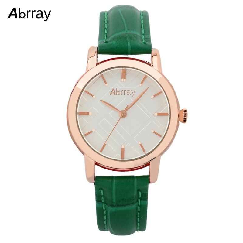 Abrray Stylish Women Watches 3ATM Waterproof Ladies Watch Green Genuine Leather Strap Quartz Wristwatches Female Relogio Reloj