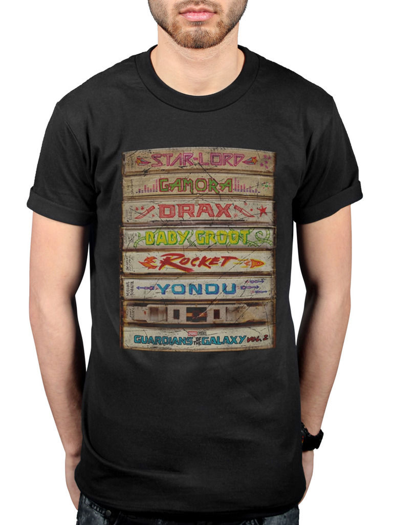 Top Harajuku Short Sleeve Shirt Official Guardians Of The Galaxy Vol 2 Cassette Stack T-Shirt Starlord Marvel