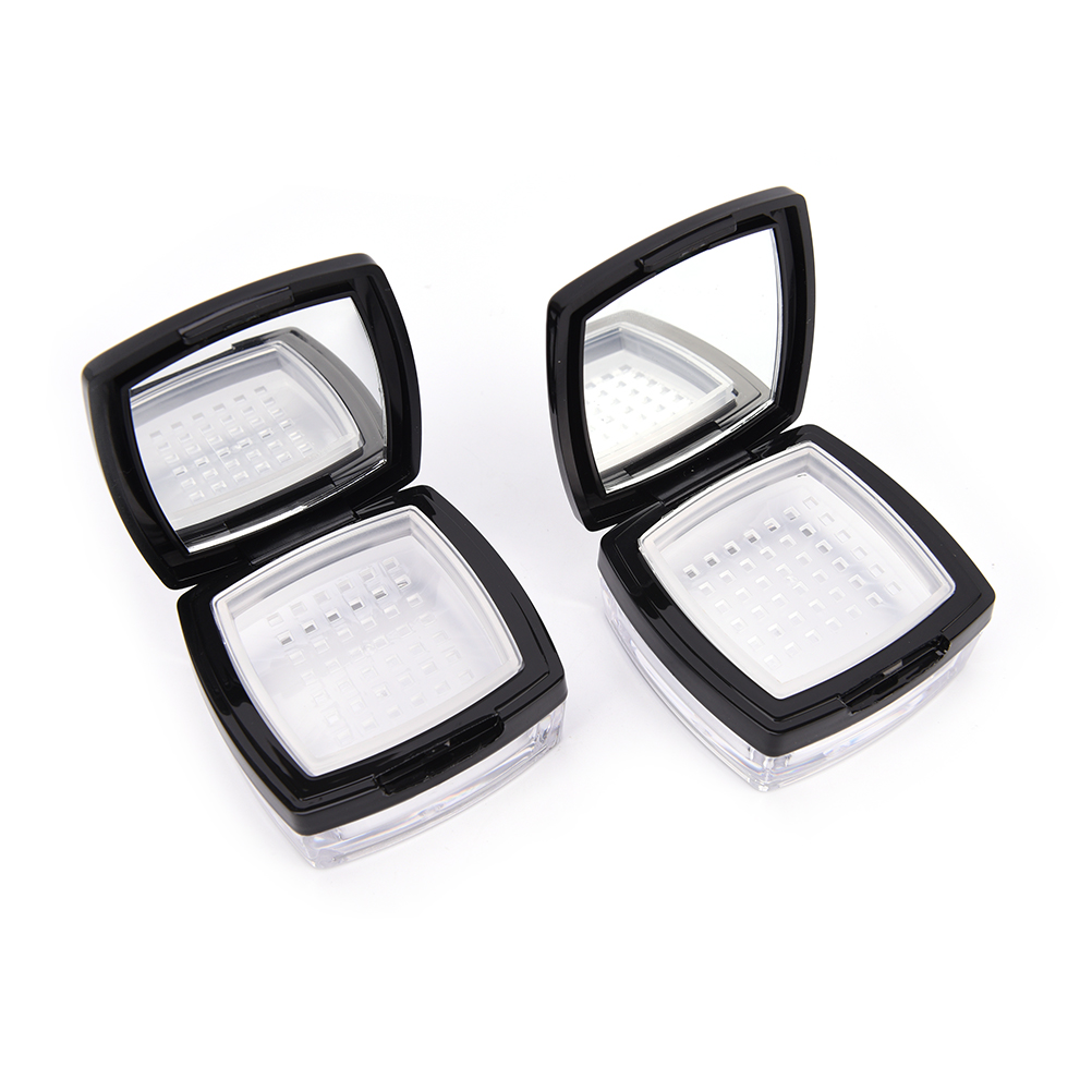 Plastic Cosmetic Powder Container 10g Empty Black Loose Powder Case with Mirror,Sifter Square Loose Powder Box with Sifter