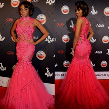 CYF92 Oscars Sexy High Neck Mermaid Prom Dresses 2016 Long Pink Flowers Tulle Evening Dress Formal Pageant Celebrity Gown