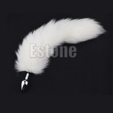 Premium New 1PC White Fox Tail Butt Metal Plug 35cm Long Anal Sex Toy
