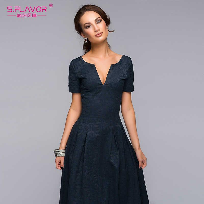 S. вкус дамы праздничное платье хорошего качества с коротким рукавом v-образным вырезом Sexy длинное платье для женщин осень модные повседневные однотонные Vestidos
