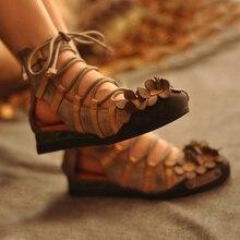 Artmu/дизайнерская женская обувь, ручной работы с перекрестной шнуровкой туфли-гладиаторы на плоской подошве; винтажные обувь из натуральной кожи Удобные женские женская обувь