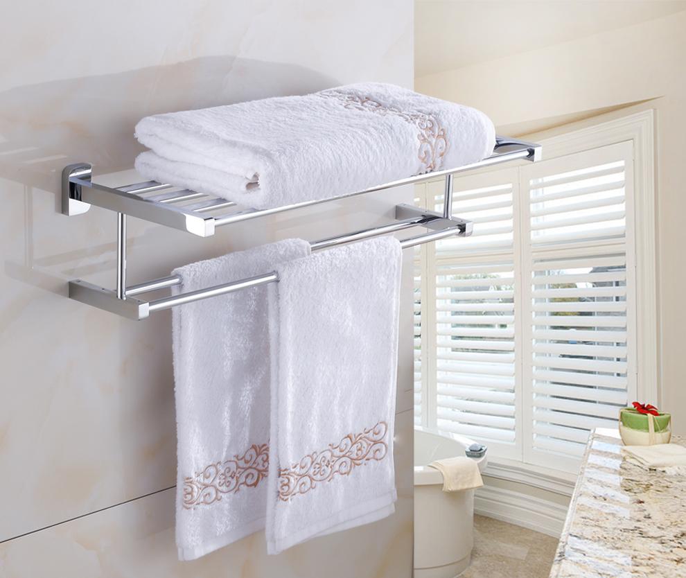 Jieshalang Brass Bath Towel Holders Bathroom Towel Rack Shelf Tacks For Bath Accessory Bars Brief Double Towel Holder Chrome 61 Towel Rack Shelf Towel Rackbath Towel Holder Aliexpress