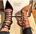 Women Gladiator High Heels Cut Outs Sandals Black Nude Lace Up Stilettos Pointed Toe Heels Sandals Women