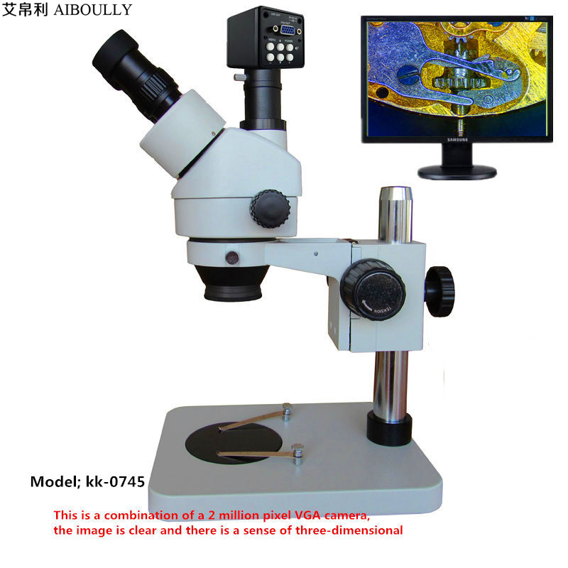 AIBOULLY Stereo Microscope Zoom 7X ~ 45X Diagnostic Repair PCB / SMT 2 Megapixel VGA Camera Large field of view