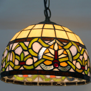 Stained Glass Pendant Lights Rose Flower Tiffany Hanglamp