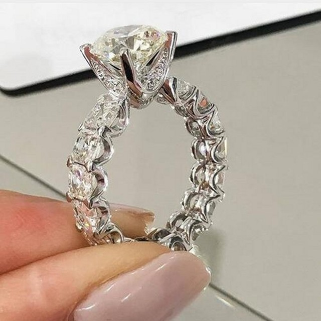 Dazzling ring 925 Sterling silver Round 3ct AAAAA Cubic Zirconia Engagement wedding band Rings for women Bridal Fashion Jewelry