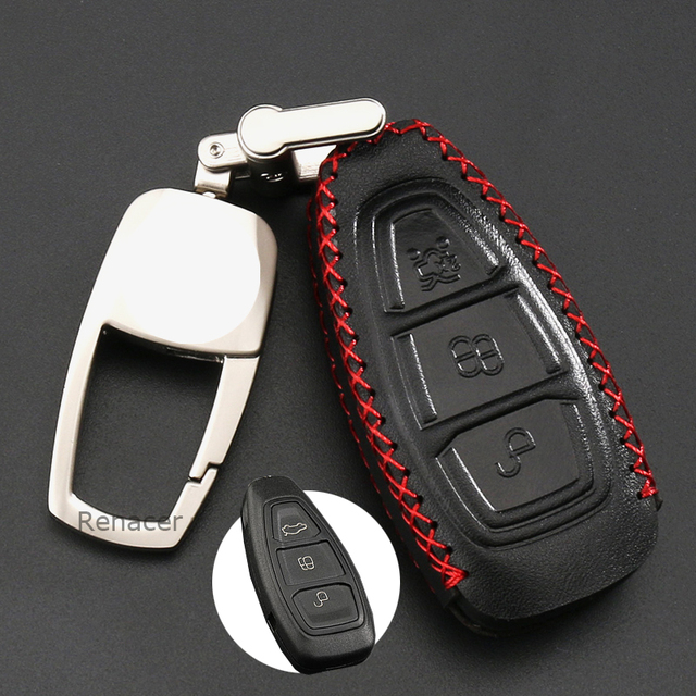 2018 New Car Key Cover Case Holder Leather Alloy For Ford Focus