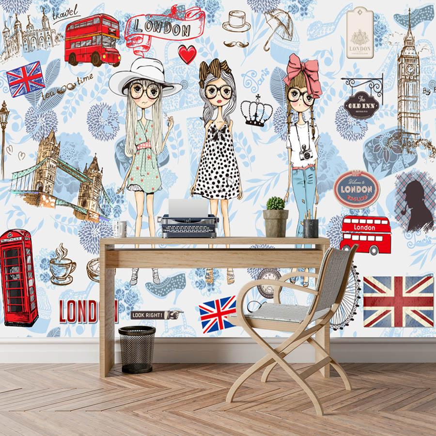 Image 5 - ShineHome Modern Custom 3D Wallpaper European City London Fashion Girl Wallpapers for 3 d Living Room Bar TV Cafe Wall PaperWallpapers   -