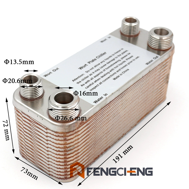 Homebrew Beer 30 plates wort chiller plate heat exchanger B3 12A 304 Staineless Steel Free Shipping