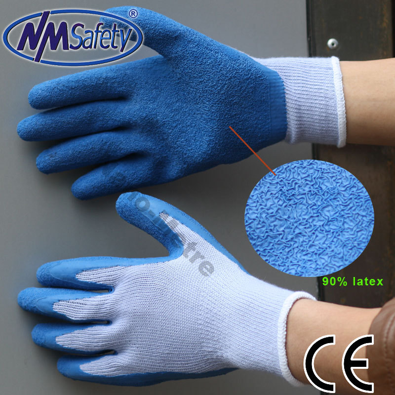 NMSafety High Quality 10 Gauge Polycotton Liner Dipping Rubber Latex Work Safety Glove