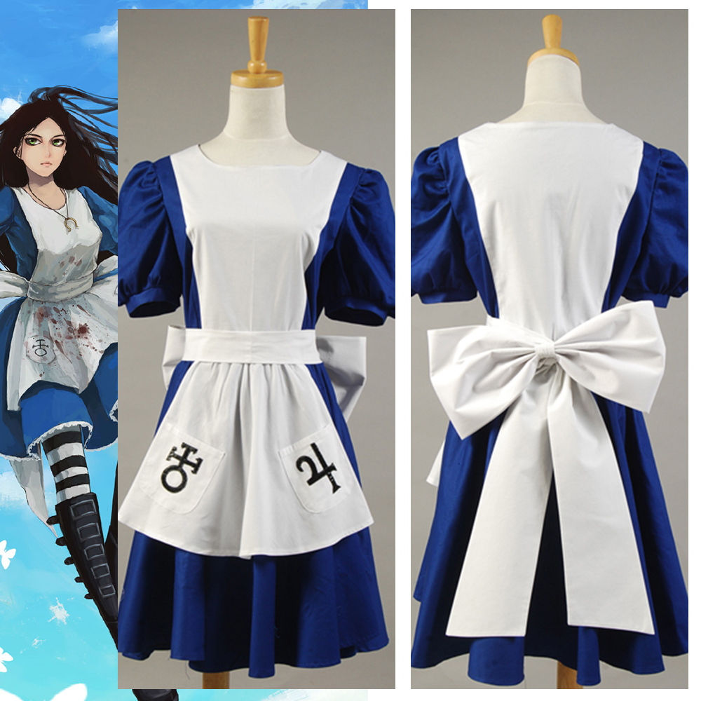 American McGee's Alice Madness Returns Cosplay Costumes Classic Alice Maid Dress Apron Cosplay Costume alice madness returns heroine alice cosplay costume black white striped customized anime uniform