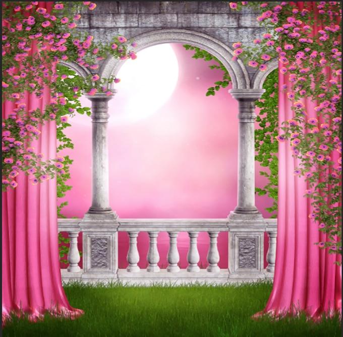 10x10ft Pink Curtain Garden Columns Wall Moon View Flowers