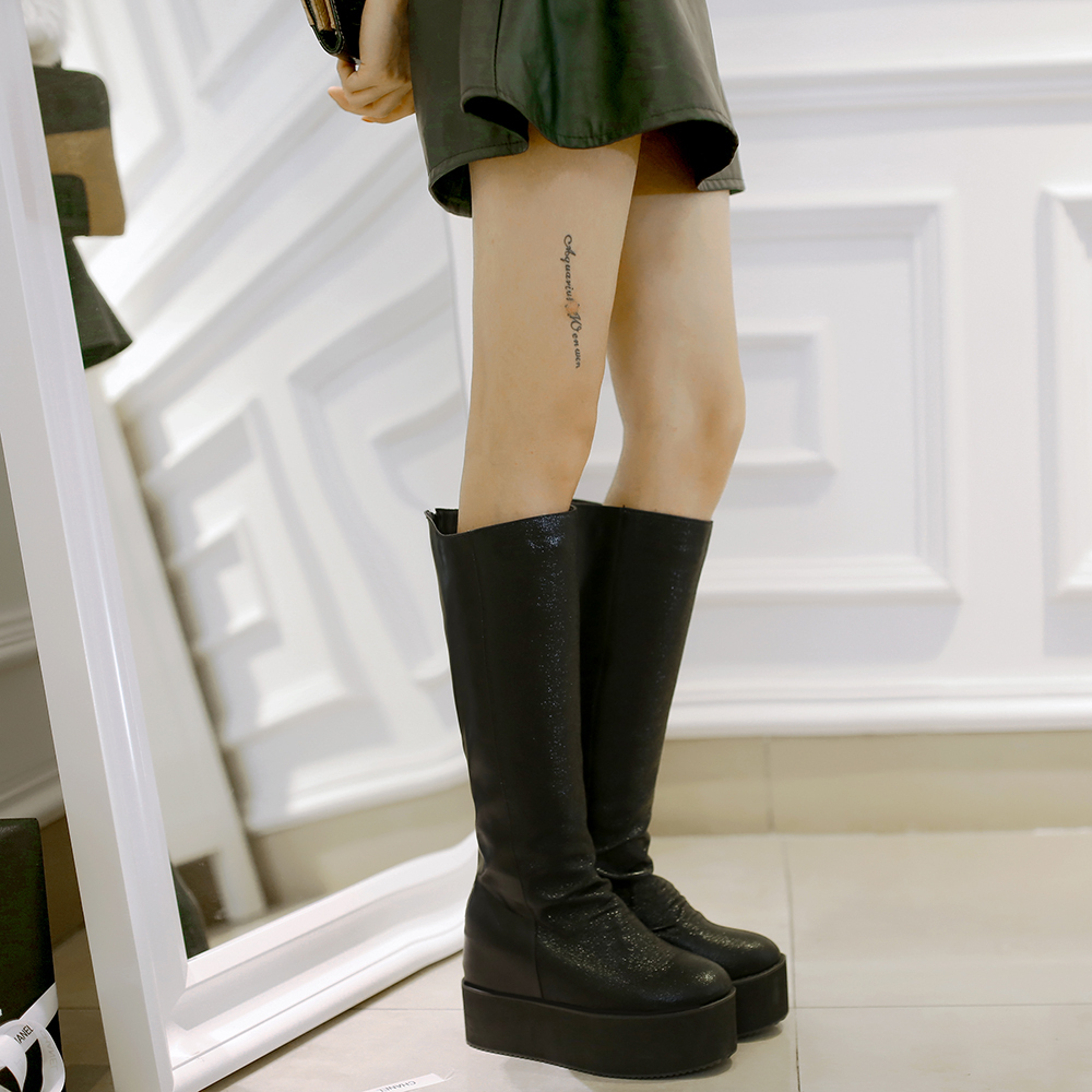 faux leather thick bottom thigh high boots platform shoes