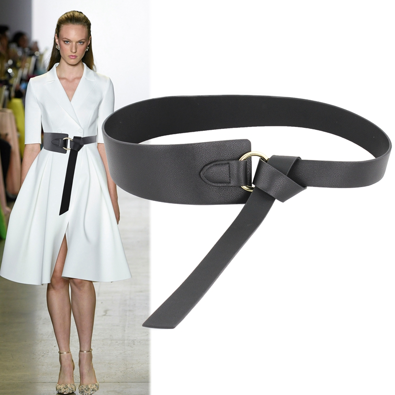 2019 New Women Winter Wide Waistbands Long Section Circle Soft Leather Bow Knot Body Shaping Bands Waist Belts All Match Dress