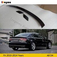 ABT Style Carbon Fiber rear trunk spoiler For AUDI A8 D4 2010 2011 2012 2013 2014 year A8 CF rear wing spoiler (3pcs)