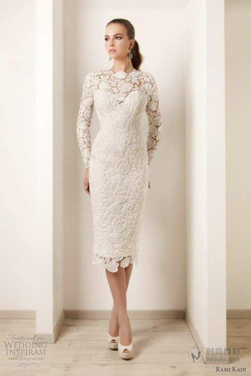 Cheap short lace wedding dresses with long sleeves