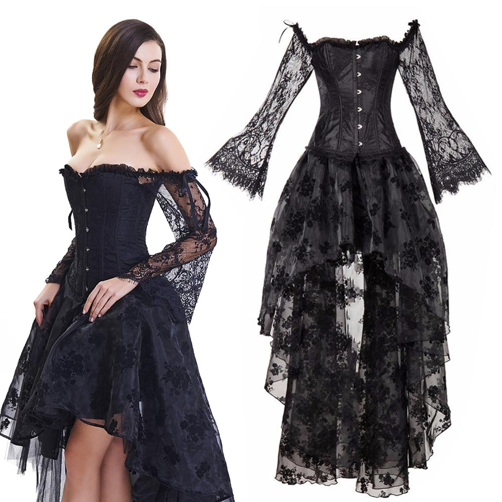 Women's Gothic Steampunk Corset Dress Outfit Deluxe Victorian Black Off Shoulder Lace Sleeve Corset Blouse High Low Long Skirt