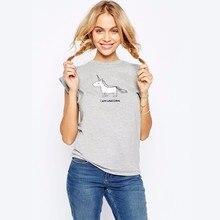 MENGLUOFAN 2017 Új divat márka Design print Unicorn Női Vicces pólók European Style rövidnadrág NECK női póló