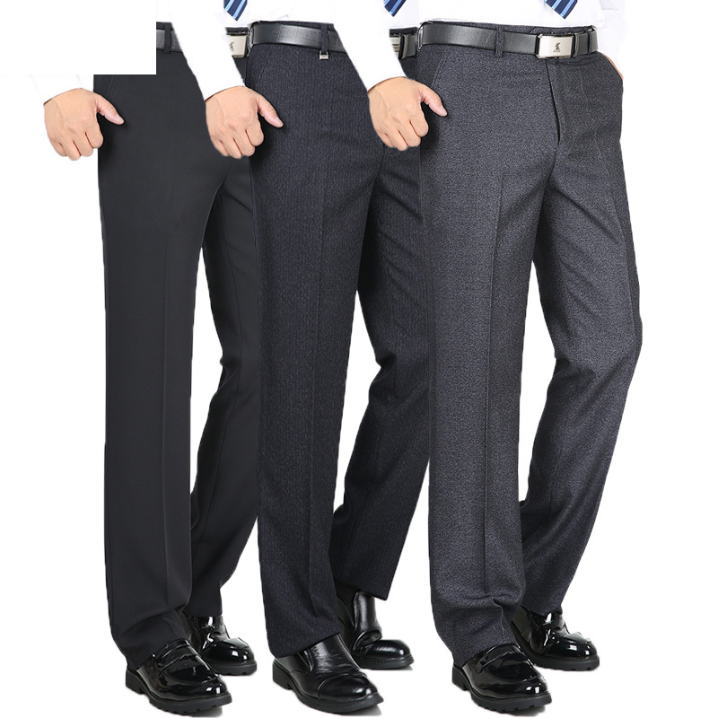 High Quality Fashion Thicken Men Dress Pants Classic Business Casual Straight Trousers Loose Suit Pants High Waist Men Pantalon