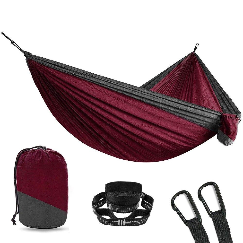 Ultra-léger Randonnée Camping Hamac Portable Nylon Sécurité Parachute Hamac Suspendu Chaise Swing En Plein Air À Double Personne Loisirs Hamak