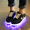 2016 botas novas moda Lacing mulheres sapatos sapatos Levaram para as mulheres led luminoso sapatas das mulheres