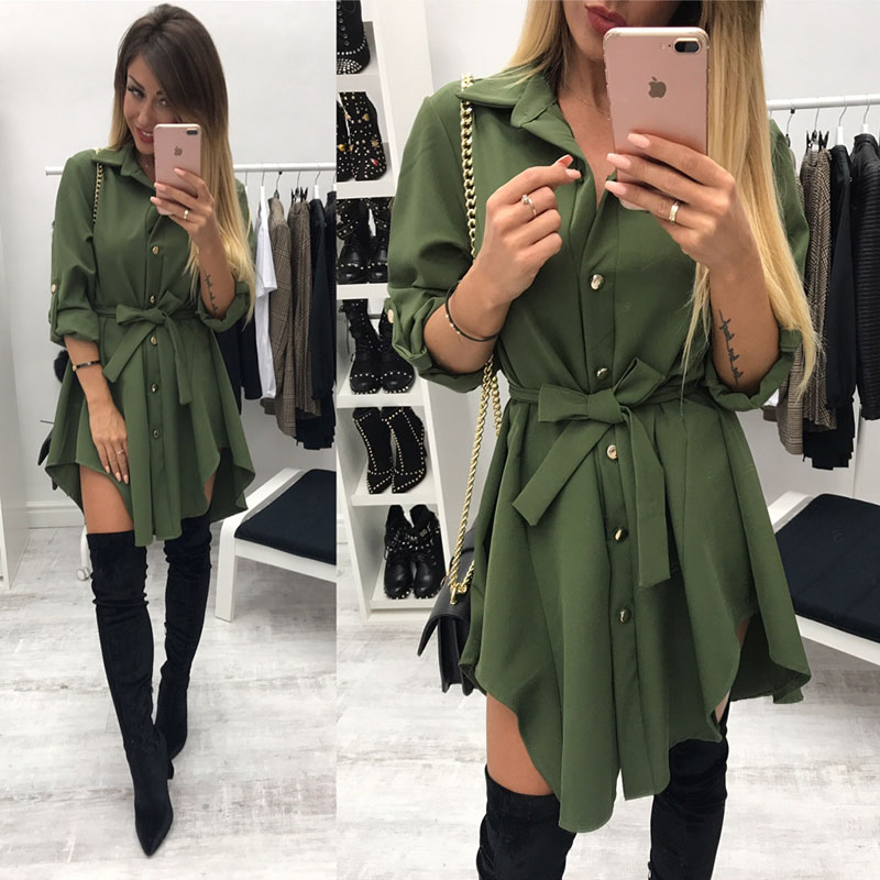 Women's Clothing Have An Inquiring Mind Summer Dress Women Spring 2019 Long Sleeve Turn Down Lace Dress Button Vestidos Robe Collar Army Green Red Short Mini Dresses