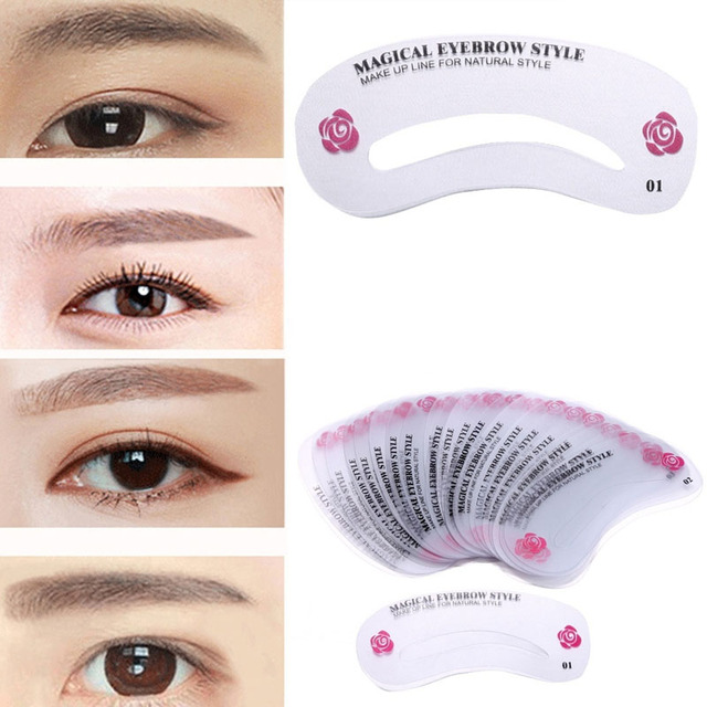 24 Pcs Reusable Eyebrow Stencil Set Eye Brow DIY Drawing Guide Shaping Grooming Template Card Easy Makeup Beauty Kit w S 5