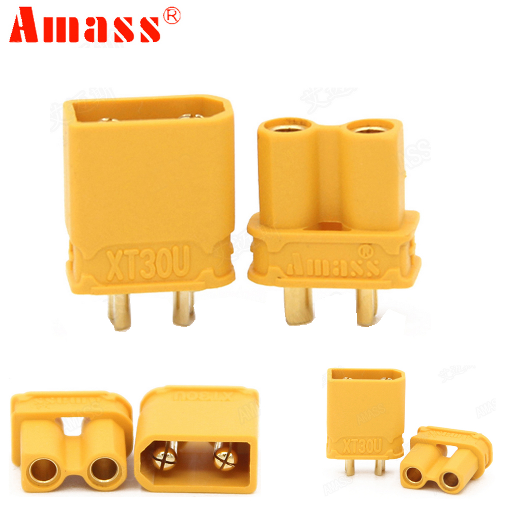 10pcs Amass XT30U Male Female Bullet Connector Plug the Upgrade XT30 For RC FPV Lipo Battery RC Quadcopter (5 Pair) 1pcs lipo battery 7 4v 2000mah 30c t banana xt60 plug upgrade lipo battery for syma x8c x8w quadcopter free shipping