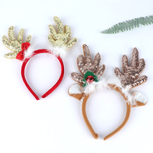 цена на Antlers Christmas Headband Baby Girl Merry Christmas Reindeer Santa Xmas Party Hair Hoop Decor Feather Reindeer Cloth Headband