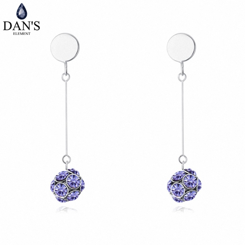 DANS 3 Colors Real Austrian crystals Stud earrings for women Earrings s New Sale Hot Round 128975
