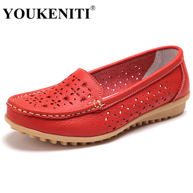 2017 Genuine Leather Flat Shoe Breathable Shoes Woman Casual Loafers Moccasins Sapato Feminino Zapatos Female Women Shoes JJ808 2017 summer women shoes casual cutouts lace canvas shoes hollow floral breathable platform flat shoe sapato feminino
