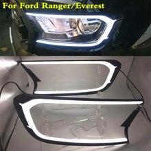 СВЕТОДИОДНЫЙ DRL для Ford ranger/Эверест свет лоб автомобиля свет фар Крышка Ремонт дневного света 2015 2016 2017 2018