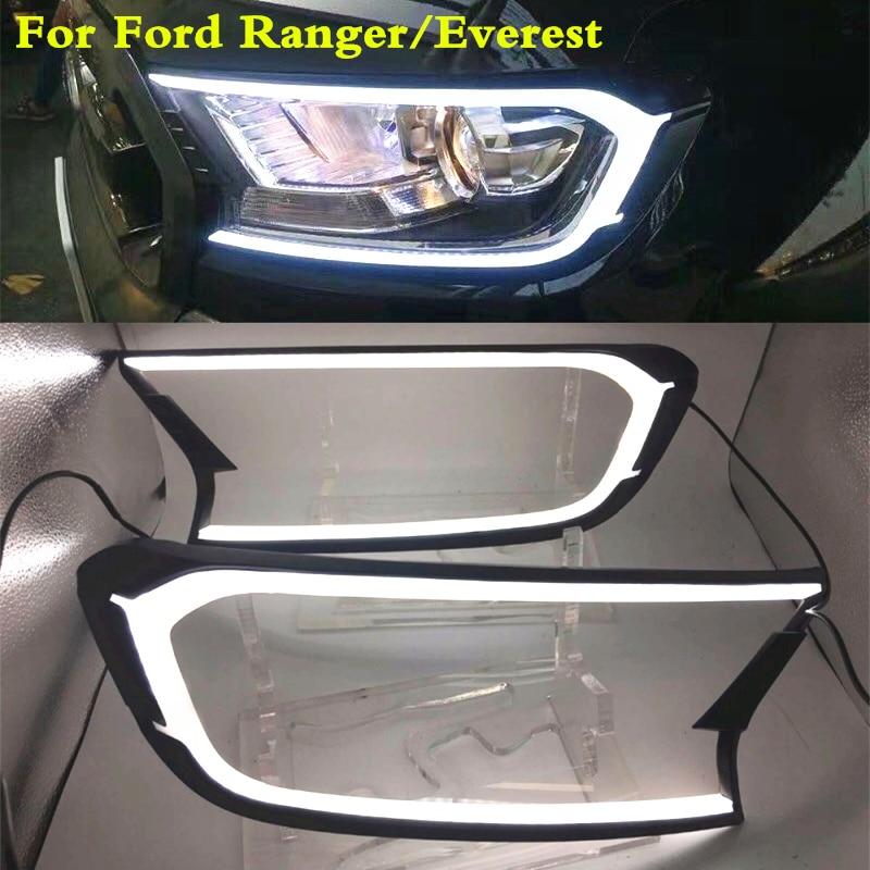 White DRL LED Head Lamp Light Cover Trim For Ford Ranger T6 MC 2015 2016 2017