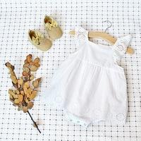 Neue Ankunft Neugeborenes Mädchen Spitzespielanzug Fliegenhülse Overall Niedlich Sommer Outfit Sunsuit Prinzessin Weiß Kleid Kleidung