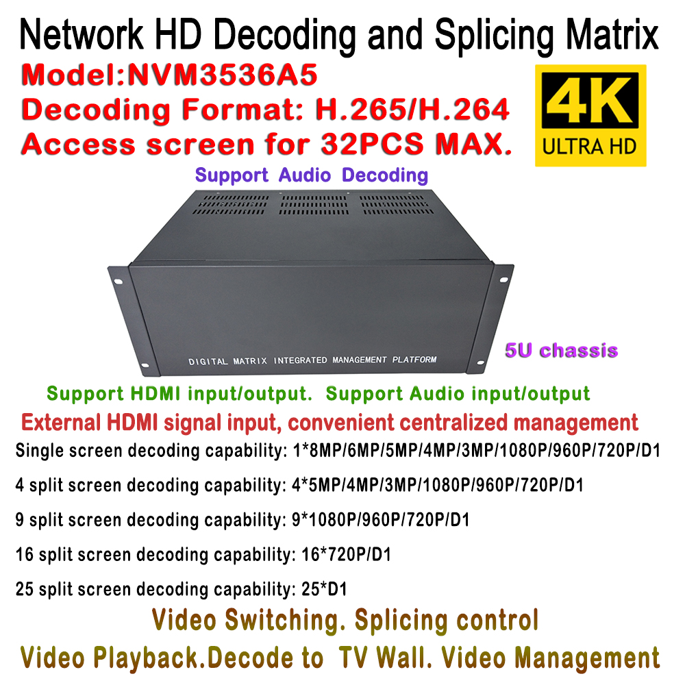 Top Decoder IP Matrix Switcher Management Video Audio Linux Design H.265 1ch HDMI Input + 2pcs HDMI Output, Split 1/4/9/16/25/36 vs0202 2x2 matrix video switcher function audio