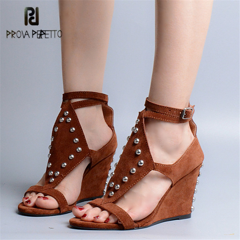 Prova Perfetto Rivets Studded Wedges Shoes for Women Suede Platform Pumps Summer Gladiator Sandals High Heel Sandal Wedges Woman female gladiator wedges sandal hallow out platforms high wedge shoes women rivets summer sandal beach vintage women size 34 39