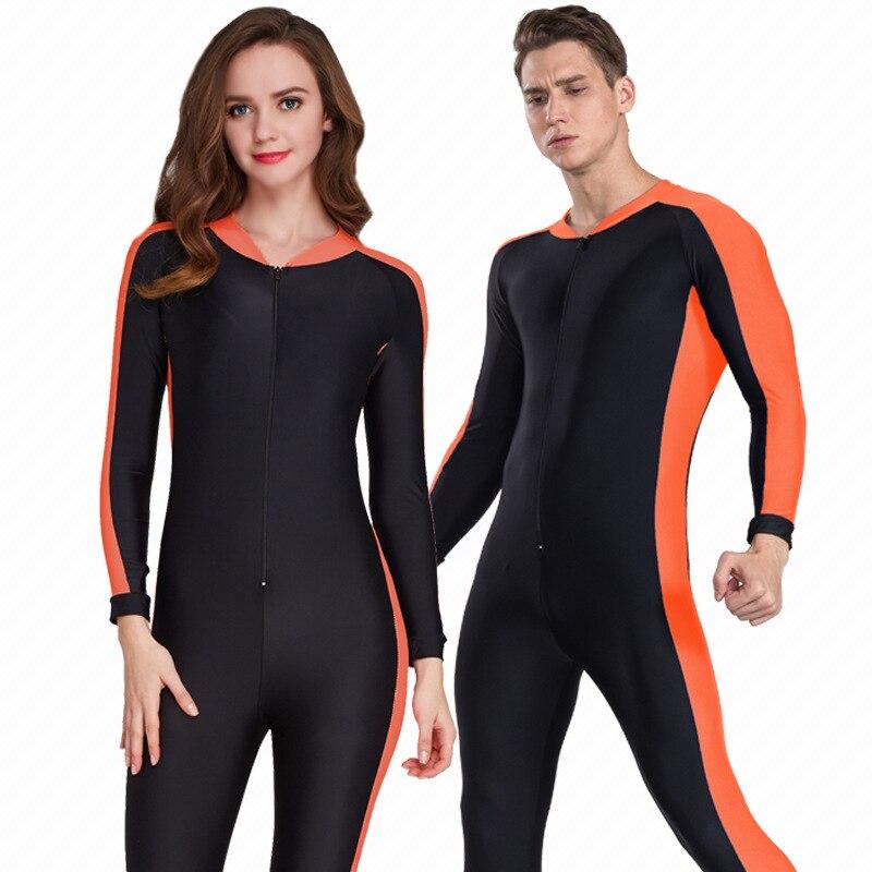 Plus 4XL diving wetsuit women men swimwear surfing swimsuit one piece long sleeved sunscreen jellyfish snorkeling waterproof