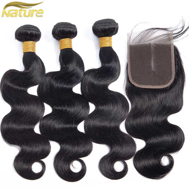 Nature Here 3 Bundles With Closure Malaysian Hair Bundles With Closure Human Hair Body Wave Bundles With Closure Non Remy by Nature Here