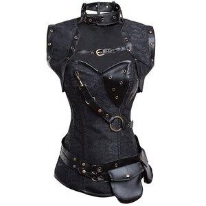 Image 3 - Dobby Faux cuir Punk Corset acier désossé gothique vêtements taille formateur Basque Steampunk Corselet Cosplay fête tenues S 6XL