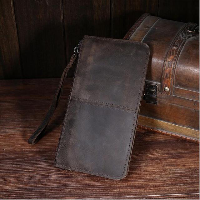 100% cowhide fashion men handbag  Leather wallet Crazy horse leather men wallets